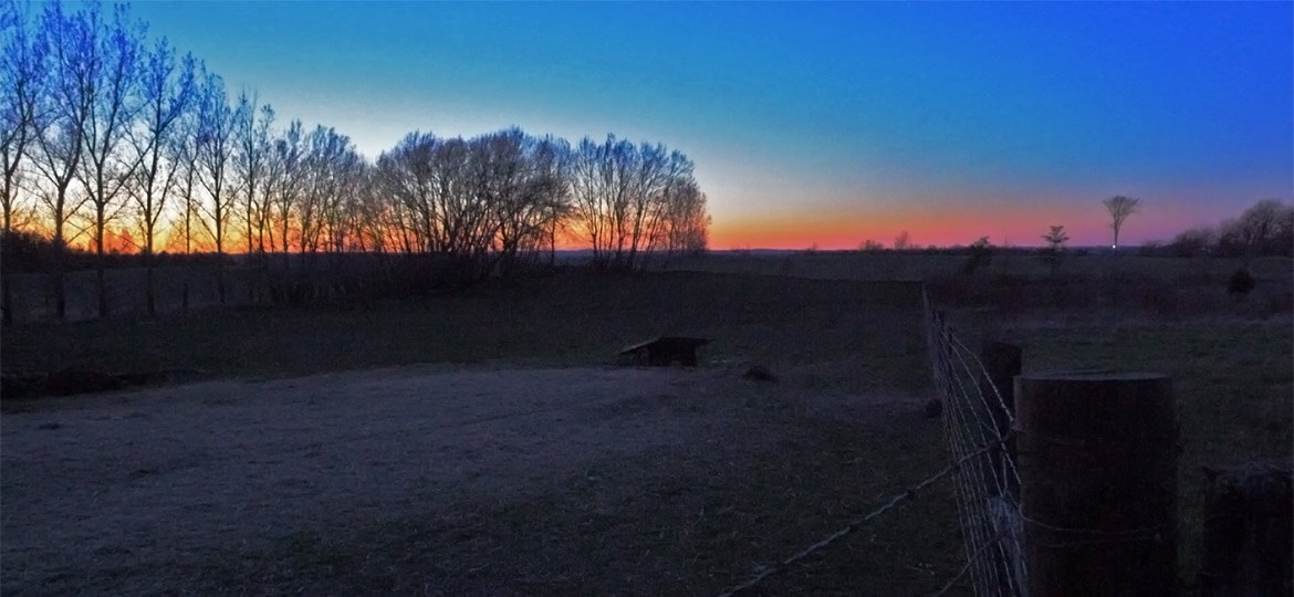 Springtime dusk on a farm with Spring Peeper chorus