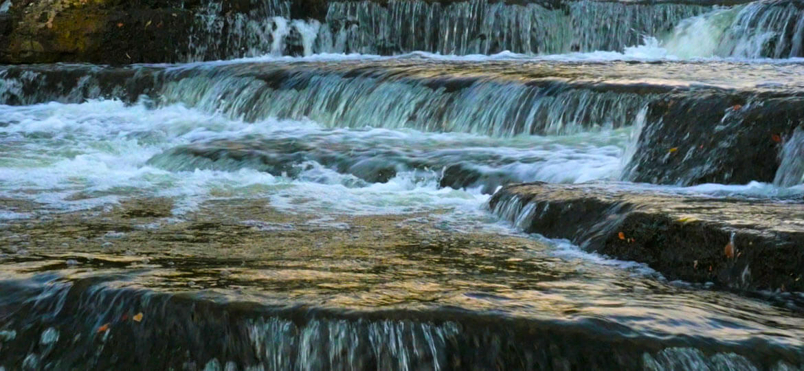 Sauble Falls at dusk, during the autumnal running of the salmon. Recorded by Artful Productions - the Slow TV / Slow Film store